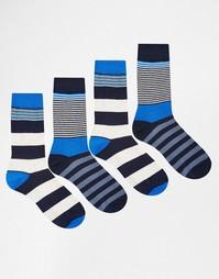 Набор из 4 пар носков в полоску Jack & Jones - Синий