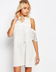 Платье с открытыми плечами и цветочным кружевом Fashion Union - Белый