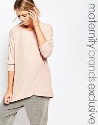 Домашняя футболка с асимметричным краем Bluebelle Maternity - Розовый