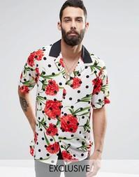Рубашка классического кроя в горошек с цветочным принтом Reclaimed Vin