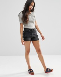 Джинсовые шорты с завышенной талией Brave Soul - Черный выбеленный