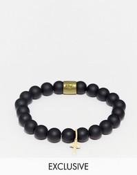 Черный браслет из бусин с крестиком Chained & Able - Черный
