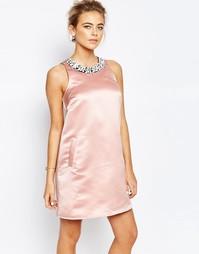 Трапециевидное платье мини с отделкой True Decadence - Sugar pink