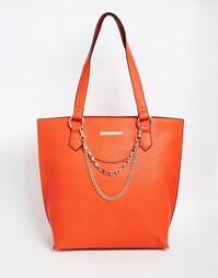 Большая сумка-тоут с цепочкой Little Mistress - Кораллово-красный