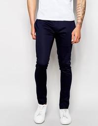 Супероблегающие брюки из хлопкового атласа ASOS - Темно-синий