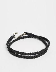 Плетеный браслет на ногу с застежкой на крючок ASOS - Черный