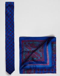 Шелковые галстук и платок‑паше с принтом пейсли ASOS - СКИДКА 17%