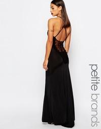 Платье макси с кружевом сзади Boohoo Petite - Черный