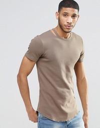 Удлиненная коричневая футболка из вафельной ткани с асимметричным крае Asos