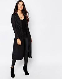 Куртка под замшу с отделкой бахромой Goldie Hide Away - Черный