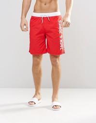 Шорты для плавания с логотипом Jack & Jones - Красный