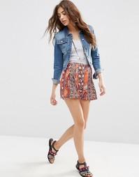 Юбка-шорты с цветочным принтом и складками ASOS - Мульти