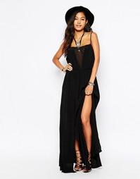 Платье с кружевной отделкой спереди Japonica - Черный