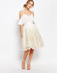 Кружевная юбка миди с эффектом металлик Chi Chi London Premium