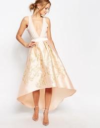 Пышная юбка миди с золотистой вышивкой Chi Chi London Premium