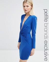 Облегающее платье мини с длинными рукавами и декольте John Zack Petite
