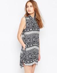 Платье-рубашка с принтом Daisy Street - Темно-синий
