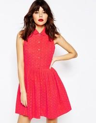 Платье-рубашка с вышивкой ришелье ASOS - Коралловый