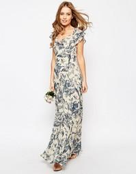 Платье макси с принтом и оборкой ASOS WEDDING - Мульти