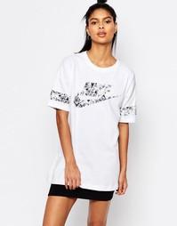Длинная футболка с цветочным логотипом Nike - Белый