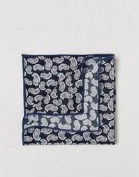 Платок для нагрудного кармана с принтом пейсли Selected Homme - Синий