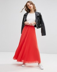 Плиссированная юбка макси ASOS - Коралловый