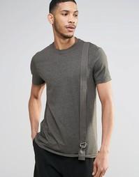 Удлиненная футболка цвета хаки с лентой в стиле милитари ASOS