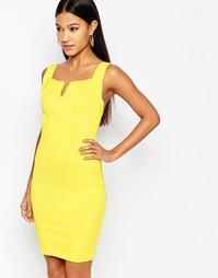 Бандажное платье мини с V‑образным вырезом WOW Couture - Лимонный