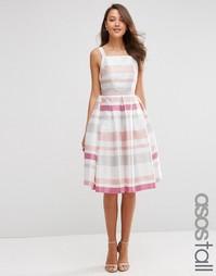 Полосатое платье для выпускного миди в винтажном стиле ASOS TALL