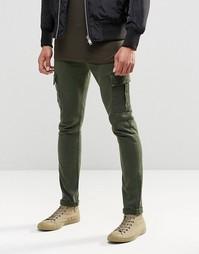 Зеленые супероблегающие джинсы с карманами‑карго ASOS - Хаки