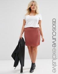 Фактурная юбка‑трапеция в рубчик ASOS CURVE - Красно-бурый