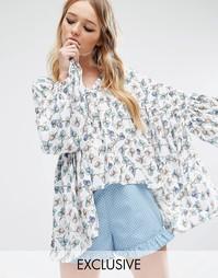 Топ с рукавами‑кимоно и цветочным принтом Reclaimed Vintage - Белый