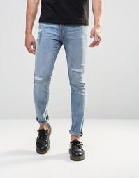 Зауженные джинсы с заплатками Cheap Monday - Пыльно-голубой
