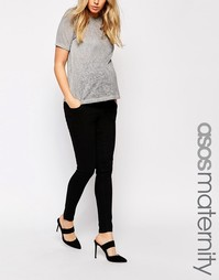 Черные джинсы скинни для беременных с посадкой поверх живота ASOS Mate