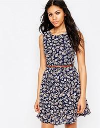 Платье с цветочным принтом и поясом Iska - Темно-синий