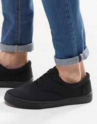 Черные кеды со шнуровкой ASOS
