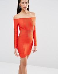 Бандажное облегающее платье с открытыми плечами Missguided - Красный