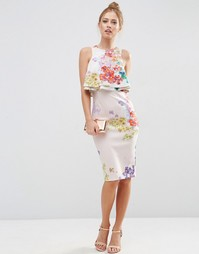 Платье-футляр с двойным укороченным топом и цветочным принтом ASOS