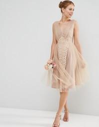 Платье миди для выпускного ASOS WEDDING - Blush