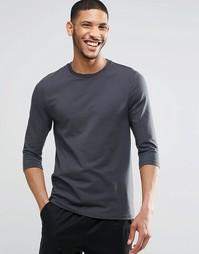 Черная эластичная футболка с рукавами 3/4 ASOS - Выбеленный черный