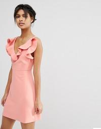 Структурированное платье‑трапеция мини с оборкой ASOS - Коралловый