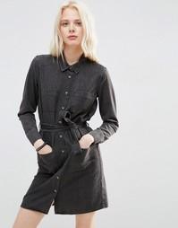 Джинсовое платье-рубашка с поясом ASOS - Выбеленный черный