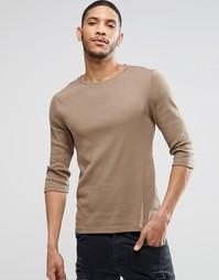 Светло-бежевая облегающая футболка в рубчик с рукавами 3/4 ASOS