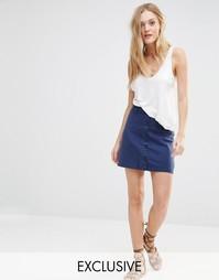 Джинсовая юбка в стиле милитари на пуговицах Northmore - Синий