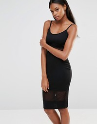 Трикотажное платье миди с сетчатыми вставками Missguided - Черный