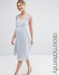 Кружевное платье миди ASOS Maternity Kate - Серый лед