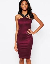 Платье миди в замшевом стиле с лямками AX Paris - Сливовый