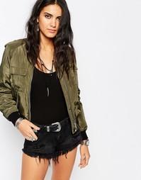 Куртка-пилот в стиле милитари Missguided - Хаки