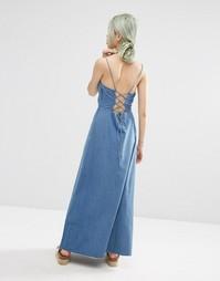 Платье макси из вощеного хлопка с завязкой сзади ASOS - Синий