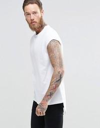 Белая удлиненная футболка с короткими рукавами и закругленной кромкой Asos